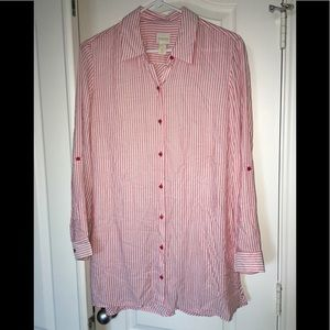 Chico's striped button down shirt/tunic